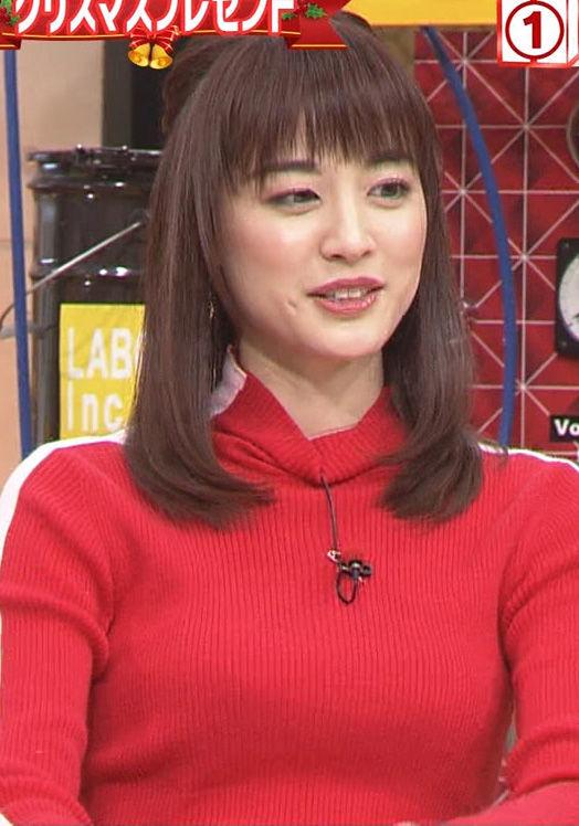 新井恵理那(29)の着衣ニット姿のおっぱいがけしからんww【エロ画像】