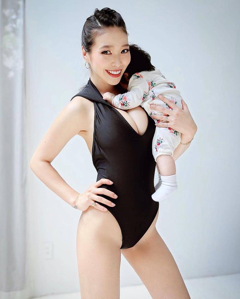 紅蘭(29)の産後のレオタード姿のおっぱいがぐうシコww【エロ画像】