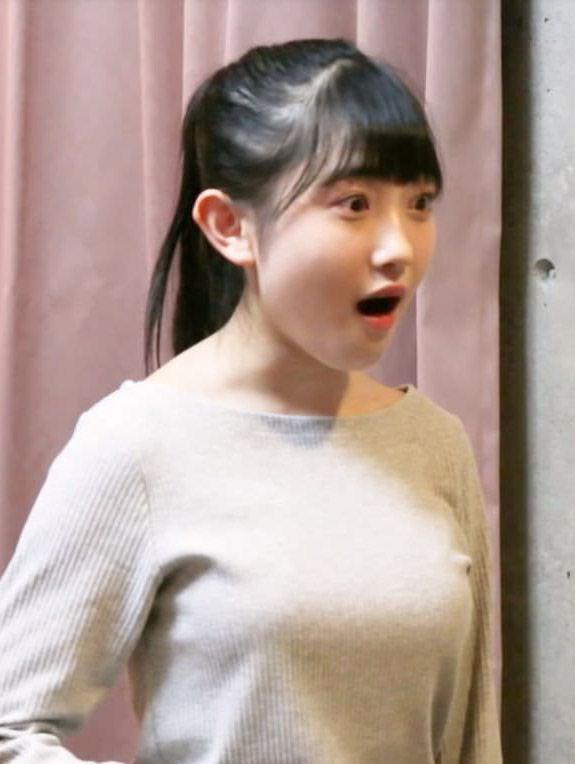 梁川奈々美(15)推定Eカップのニット姿の着衣巨乳がぐうシコww【エロ画像】