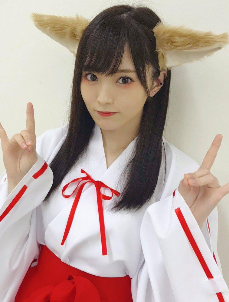 NMB48山本彩(24)ケモ耳巫女コスプレ姿がAV風で抜けるww【エロ画像】