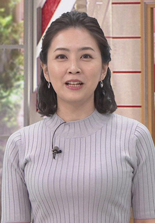 矢島悠子アナ(36)の着衣ニット巨乳がパンパンでエロいww【エロ画像】